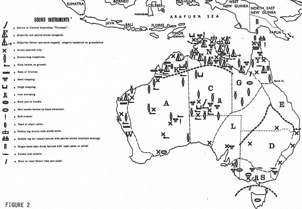 Map showing the distribution of Aboriginal sound instruments. Fine lines mark State boundaries; thicker lines mark language or 'tribal areas'; heavy lines mark tentative boundaries of musical regions.© AIATSIS, 1974. No reproduction without permission.